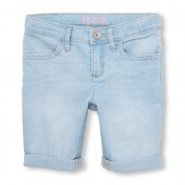 Girls Roll-Cuff Denim Skimmer Short - Light Blue Ice Wash