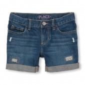 Girls Destructed Roll-Cuff Shorts - Dark Blue Iris Wash