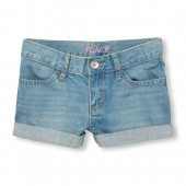 Girls Roll-Cuff Shortie Short