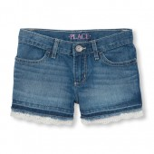 Girls Lace Hem Denim Short - Medium Aqua Wash