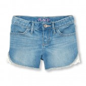 Girls Crochet Trim Denim Short - Light Moonstone Wash