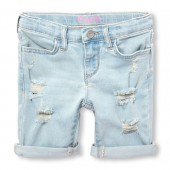 Girls Roll-Cuff Destructed Denim Skimmer Shorts