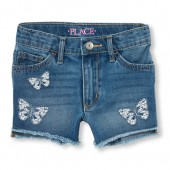 Girls Butterfly Embroidered High Waist Denim Shorts