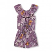 Baby And Toddler Girls Sleeveless Butterfly Print Ruffle Knit Romper