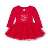 Baby Girls Long Sleeve Glitter 'Best Gift Ever' Knit-To-Woven Tutu Dress