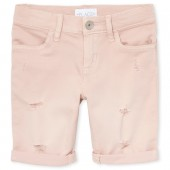 Girls Colored Distressed Denim Roll-Cuff Skimmer Shorts