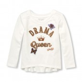 Baby And Toddler Girls Long Sleeve Sequin Drama Queen Patch Graphic Hi-Low Top