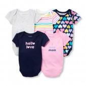 Baby Girls Short Sleeve I Love Mom Bodysuits 5-Pack