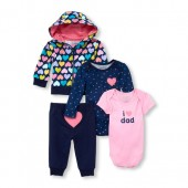 Baby Girls Hearts And Stars Hoodie, Bodysuits And Pants 4-Piece Playwear Set