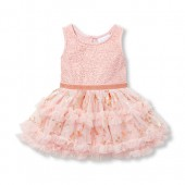 Baby Girls Sleeveless Foil Print Knit-To-Woven Tutu Dress
