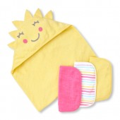 Baby Girls Sunny Skies Bath Towel And Wash Cloth 4-Piece Set
