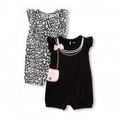 Baby Girls Short Flutter Sleeve Fashionista Knit Romper 2-Pack