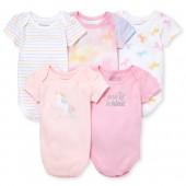 Baby Girls Short Sleeve Unicorn Bodysuits 5-Pack