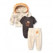 Baby Boys Lion Hoodie, Bodysuit And Pants 3-Piece Playwear Set