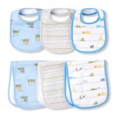 Baby Boys Safari Coast Bib And Burp Cloth 6-Pack