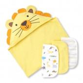 Baby Boys Safari Coast Bath Towel And Wash Cloth 4-Piece Set