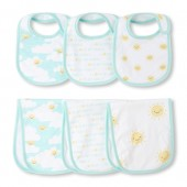 Unisex Baby Sunny Family Bib And Burp Cloth 6-Piece Set