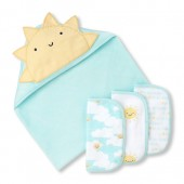 Unisex Baby Sunny Family Bath Towel And Wash Cloth 4-Piece Set