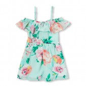 Baby And Toddler Girls Short Sleeve Floral Print Off Shoulder Woven Dress