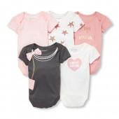 Baby Girls Short Sleeve Fashionista Bodysuits 5-Pack