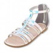 Girls Laser Cut Holographic Gladiator Sandals