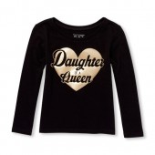 Baby And Toddler Girls Long Sleeve Foil Daughter Of A Queen Graphic Tee