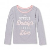 Baby And Toddler Girls Long Sleeve Glitter Daddys Little Diva Graphic Tee