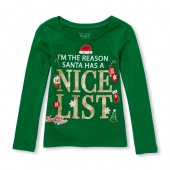Baby And Toddler Girls Long Sleeve Glitter Nice List Graphic Tee