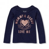 Baby And Toddler Girls Long Sleeve Glitter Mommy And Daddy Love Me Graphic Tee