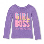 Baby And Toddler Girls Long Sleeve Girl Boss Like My Auntie Graphic Tee