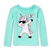 Baby And Toddler Girls Long Sleeve Dancing Unicorn Graphic Tee