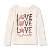 Baby And Toddler Girls Long Sleeve Glitter Love My Family Graphic Tee