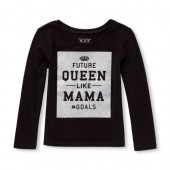 Baby And Toddler Girls Long Sleeve Glitter Future Queen Like Mama Graphic Tee