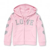 Baby And Toddler Girls Active Long Sleeve Embellished Full-Zip Hoodie