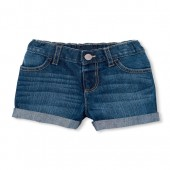 Baby And Toddler Girls Roll-Cuff Denim Shorts