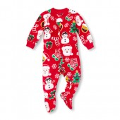 Unisex Baby And Toddler Matching Family Long Sleeve Christmas Emoji Footed Blanket Sleeper