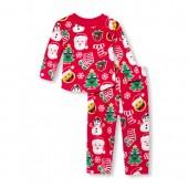 Unisex Baby And Toddler Long Sleeve Christmas Emoji Matching Family Top And Pants Fleece PJ Set