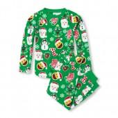 Unisex Kids Matching Family Long Sleeve Christmas Emoji Top And Pants Fleece PJ Set