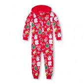 Unisex Kids Matching Family Long Sleeve Christmas Emoji Hooded Fleece One-Piece Sleeper