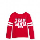 Baby And Toddler Girls Matching Family Long Sleeve Team Santa 2018 Graphic Tee