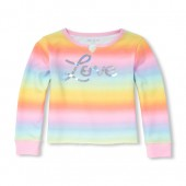 Girls Active Long Sleeve Foil Graphic Multi-Color Pullover