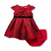 Baby Girls Short Cap Sleeve Floral Jacquard Dress And Bloomers Set