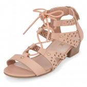 Girls Laser Cut Lace-Up Mini Heel Sandal