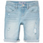 Girls Distressed Roll-Cuff Denim Skimmer Shorts