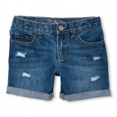Girls Distressed Boyfriend Roll-Cuff Denim Shorts