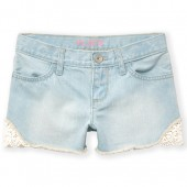 Girls Crochet Trim Denim Shorts
