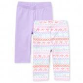 Toddler Girls Print And Solid Capri Leggings 2-Pack