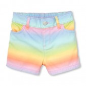 Baby And Toddler Girls Rainbow Denim Shorts