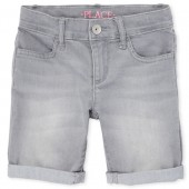 Girls Roll-Cuff Denim Skimmer Shorts