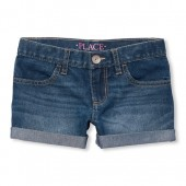 Girls Roll-Cuff Denim Shortie Shorts